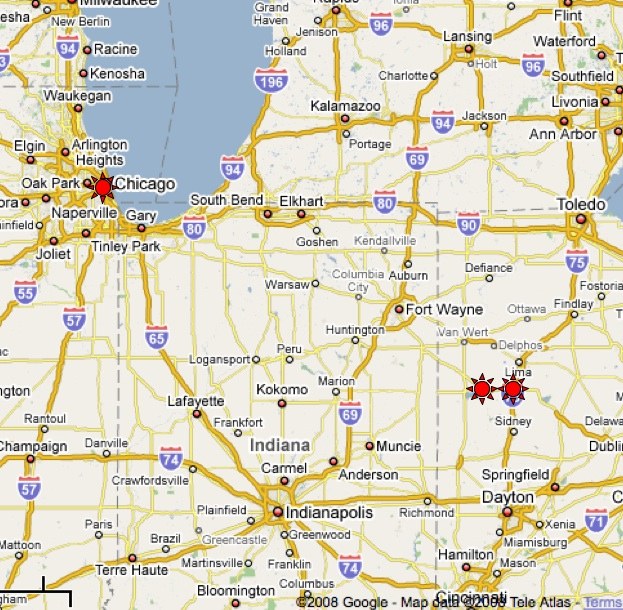 Sighting of the Sept 25 fireball over Illinois and Ohio. Sighting are denoted by the red stars.