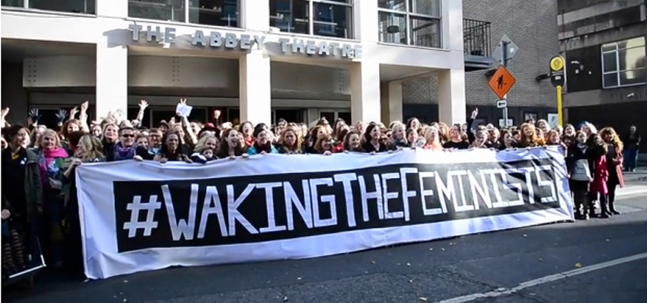 "Women from all areas of theatre attend the ""Waking The Feminists"" event at the Abbey Theatre. It follows criticism of the Abbey's ""Waking The Nation"" programme and the #WakingTheFeminists social media campaign. The event comes to Fordham University in New York this month. (Image: Irish Times video still; Bryan O'Brien / Paula Geraghty)"