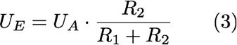 UE=UA*R2/(R1+R2) (3)