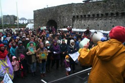 Local activist, director, producer and actress Lelia Doolan addressing the crowd at the Galway City Museum, Spanish Arch.
