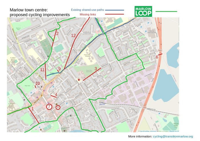 Proposed improvements for cycling in Marlow