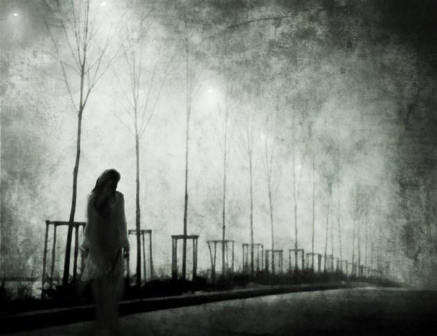 She was walking alone..