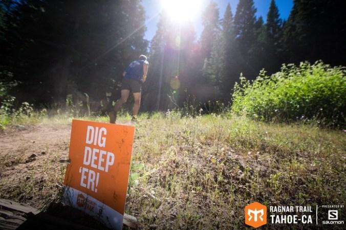 Dig Deeper sign on Ragnar Trail Tahoe.