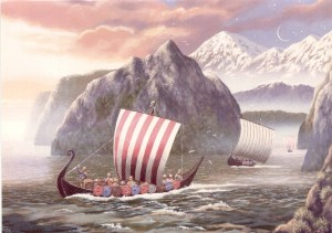 Print of Viking ships