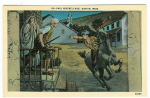Postcard of Paul Revere's ride