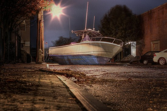boat washed up on a street