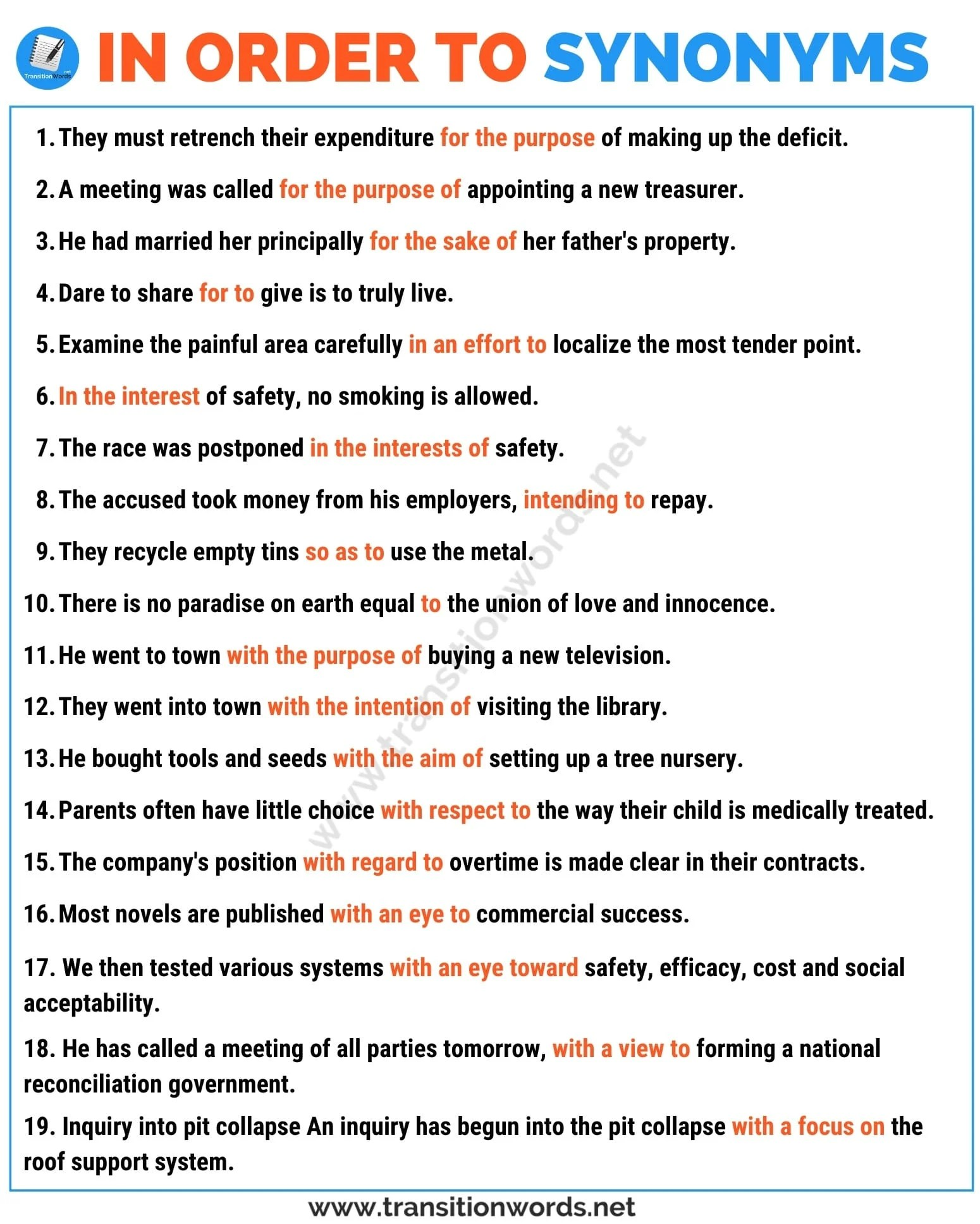 In Order To Synonym List Of 15 Useful Synonyms For In