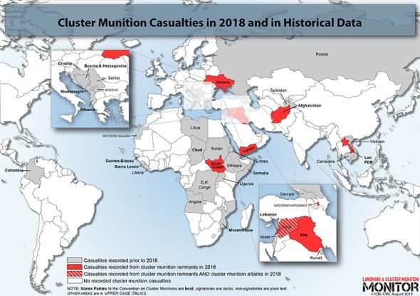 DØDSFALL 2018: Dette kartet viser land hvor mennesker ble drept av landminer i 2018. Kart: Landmine & Cluster Munition Monitor.