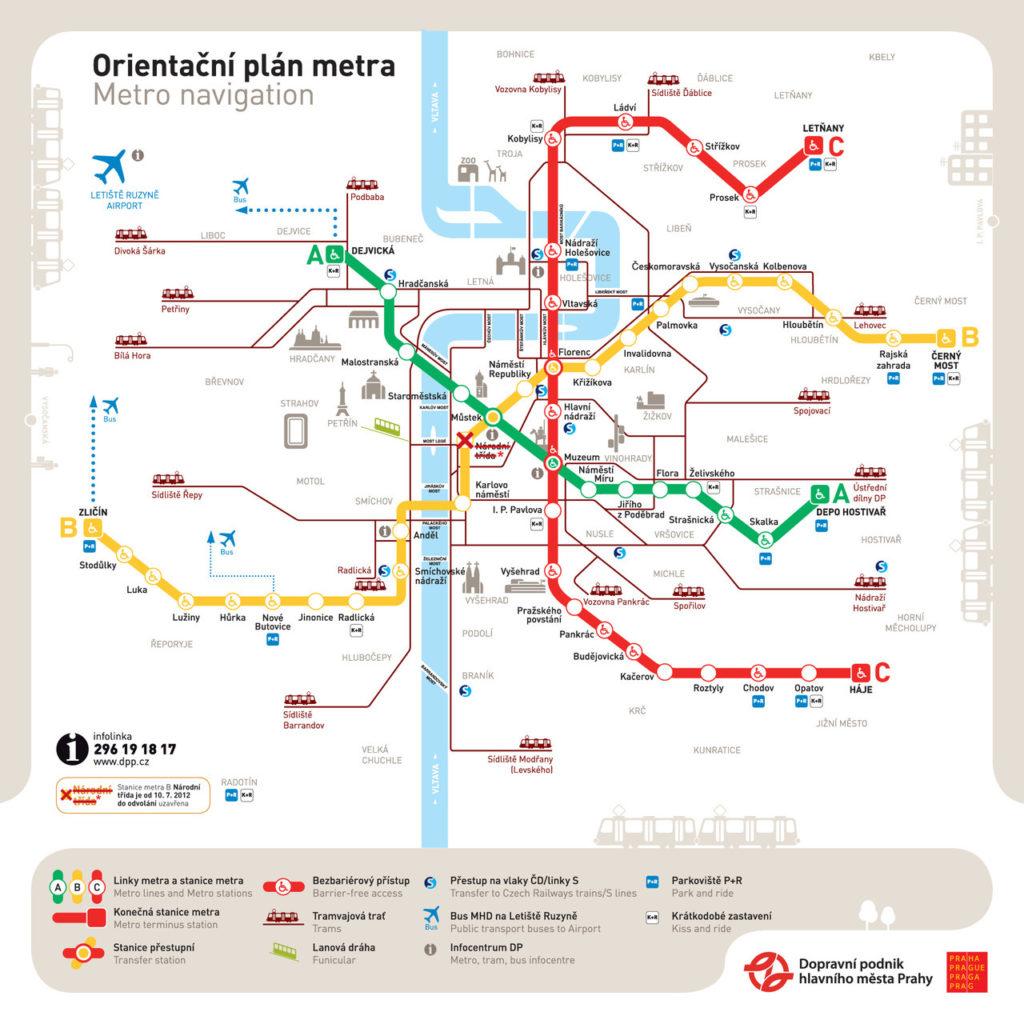 English map prague subway in Prague Subway