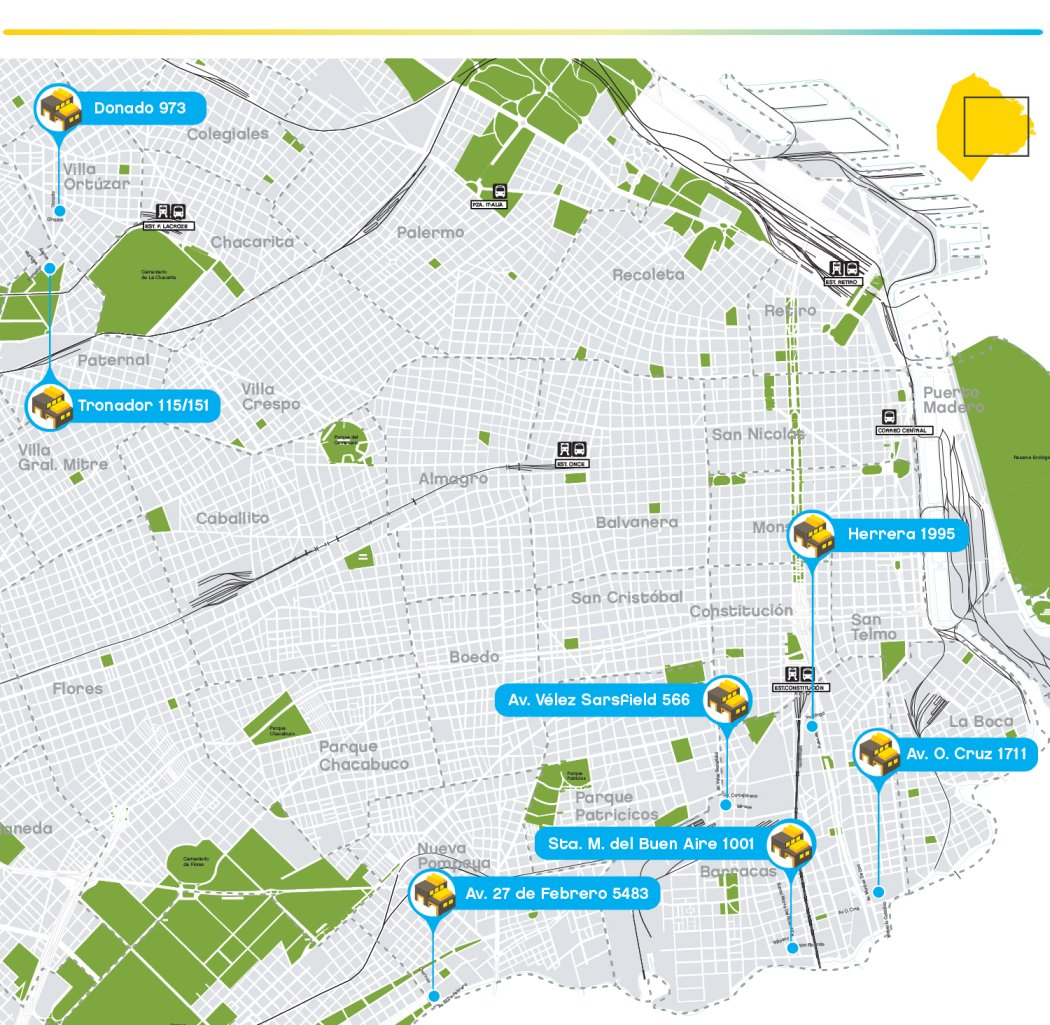 Mapa de plantas de Verificacion Tecnica Vehicular VTV en Capital Federal CABA