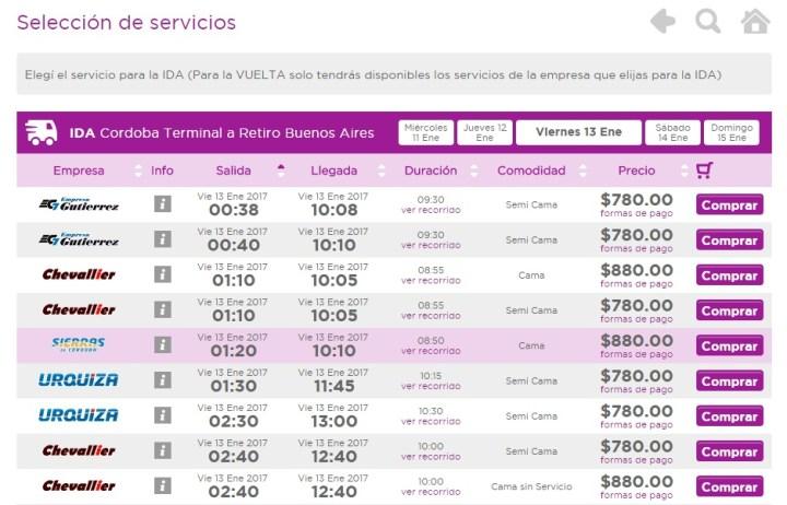 captura de pantalla pasajes de colectivos central de pasaje reserva y tarifas