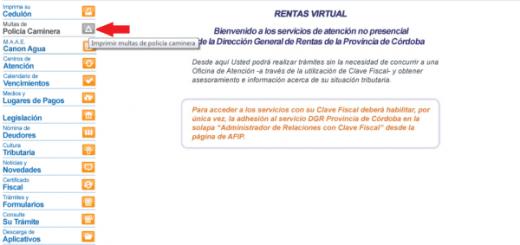 Sitio web de la Dirección General de Rentas Córdoba.