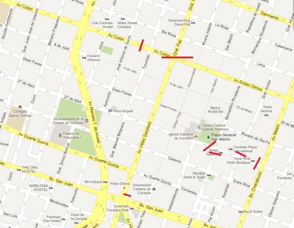 Mapa de los cortes en el centro por movilización de la Bancaria.