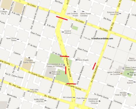 Mapa de cortes por protesta de carreros en el Palacio 6 de Julio.