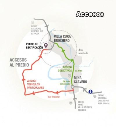 Accesos a la localidad de Cura Brochero (Mapa: Municipalidad Cura Brochero)