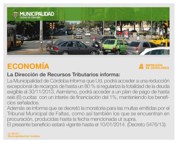 Aviso reducción de impuestos Municipalidad de Córdoba