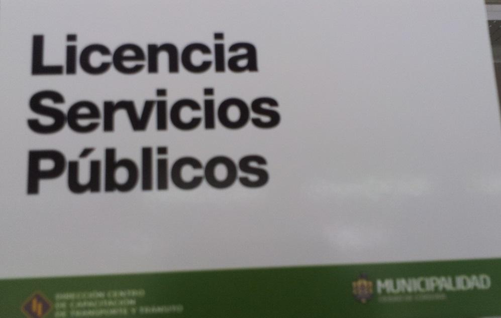 Cartel licencia de conducir servicios publicos