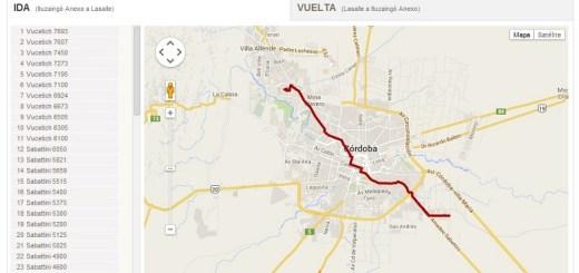Mapa de Coniferal con recorrido de colectivos del nuevo sistema de transporte