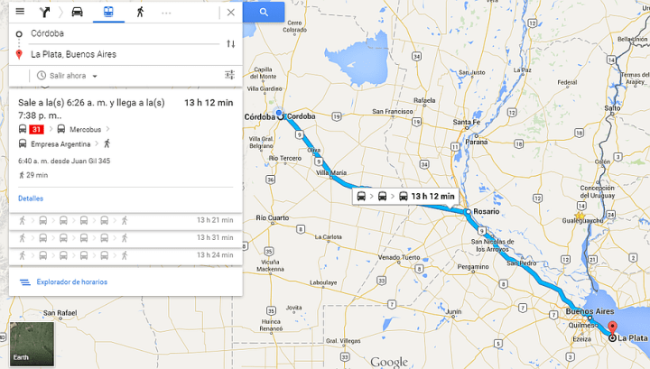Como llegar Cordoba La Plata Google Maps