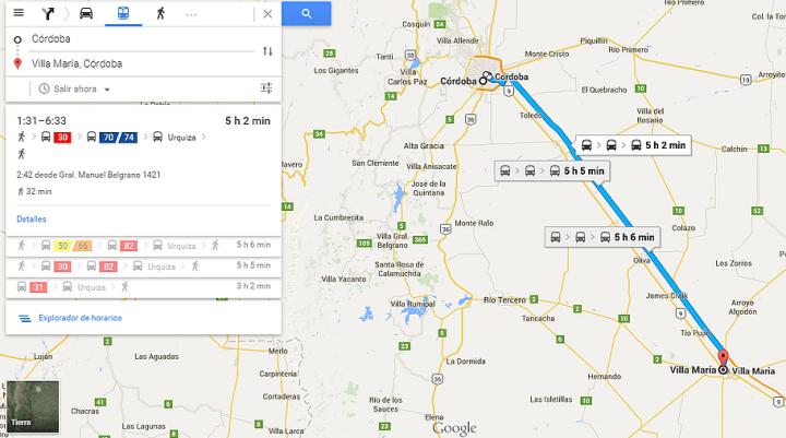 Recorrido linea de colectivos interurbanos Cordoba Rio Cuarto Google Maps