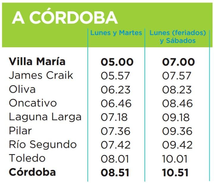 Horarios del tren Villa Maria - Cordoba (2015)