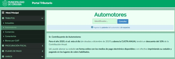 Consultar cedulon automotor Municipalidad Cordoba