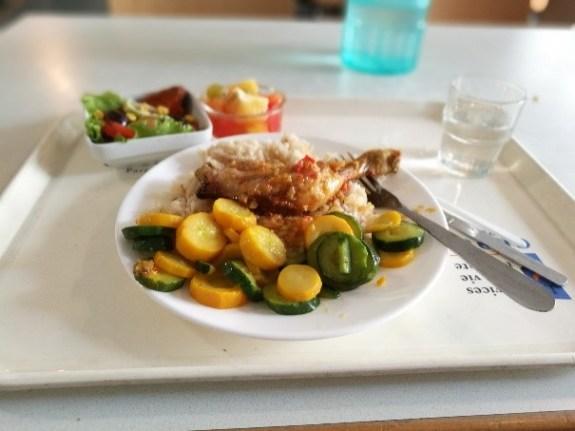 一般的なCrous学食のご飯。日によってはなかなか美味かったりする。