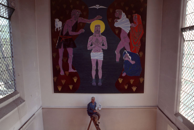 Marek Zulawski painting 'The Baptism of Jesus Christ' in the southern transept of Our Lady's Church in St John's Wood in London, 1982