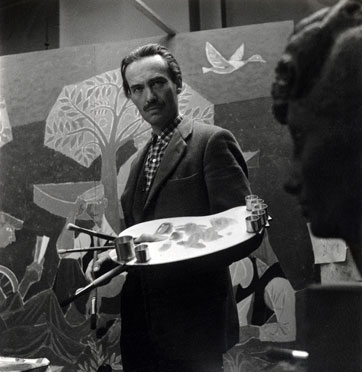Marek Zulawski preparing his wall painting for the Festival of Britain, 1951