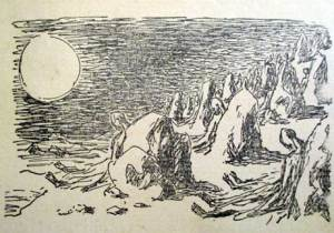 Drawing by Marek Zulawski taken from the 1946 edition of 'The Conqueror' by Jerzy Zulawski