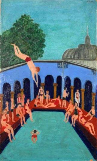 """Swimming Pool in Paris"" by Halina Korn, late 1950s"
