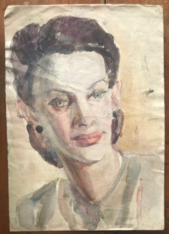Portrait of Jadwiga (Jadzia) Korngold-Kwiecińska by Marek Zulawski, illustration, circa 1938, Zulawski family archive