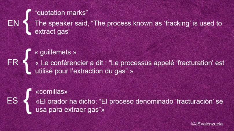 quotationmarks types and priority order recommended in English, French and Spanish