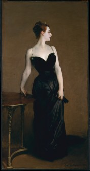Portrait of Madame X by John Singer Sargent; Virginie Amélie Avegno Gautreau wears a long black dress, stands and looks to the right. Her hair is tied up in a bun.