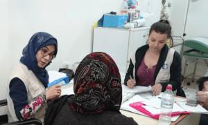 Female interpreter at work in Greece