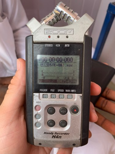 A digital voice recorder in Maiduguri, Nigeria serves as a simple and low-tech tool for capturing entire surveys. Photo by: Eric DeLuca / Translators without Borders