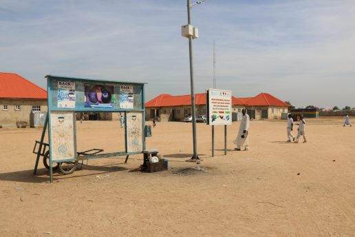 Photo shows signage with text in English in camps for internally displaced people in Maiduguri, Borno state, northeast Nigeria.