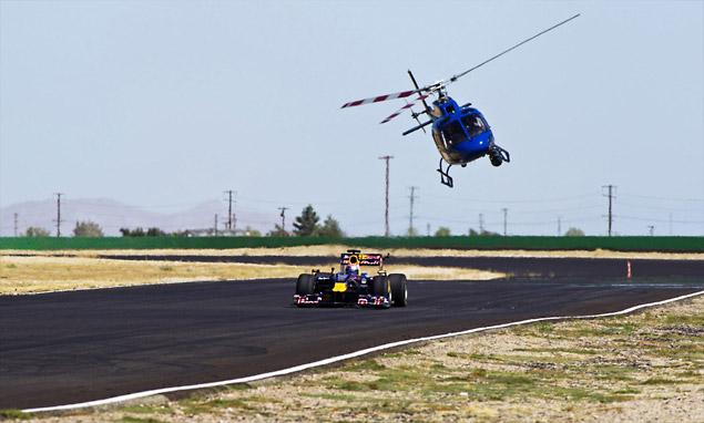 Tom Cruise drives a Red Bull F1 car