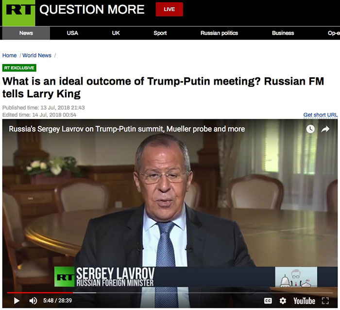 What is an ideal outcome of Trump-Putin meeting? Russian FM Lavrov tells Larry King