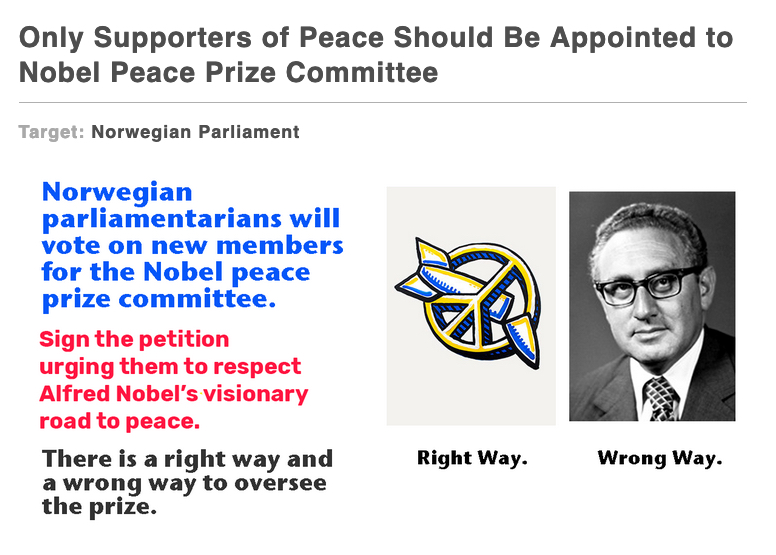 Only Supporters of Peace Should Be Appointed to the Nobel Peace Prize Committee