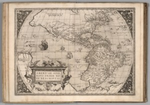 Good luck georeferencing this 1570 map of America! (Credits: David Rumsey Collections)