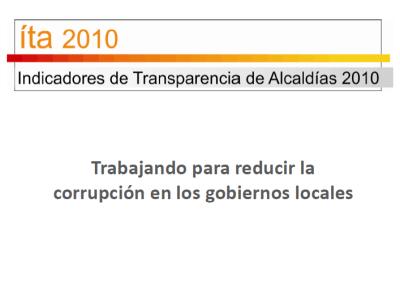 Sistema de Indicadores de Transparencia Municipal Resultados 2010