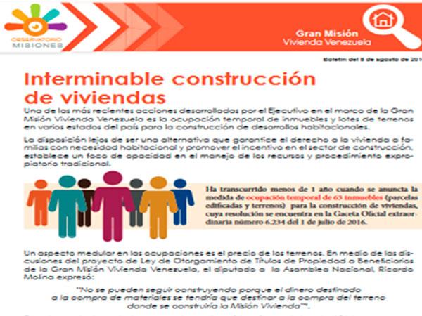 Interminable construcción de viviendas