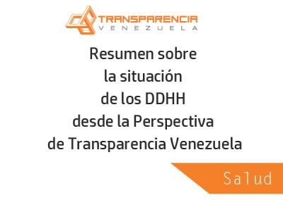 Resumen sobre la situación del sector Salud desde la Perspectiva de Transparencia Venezuela