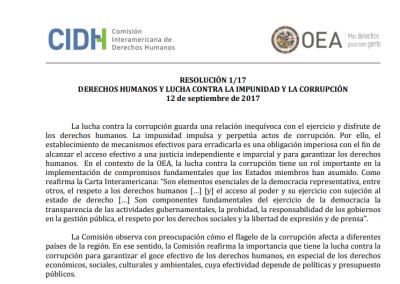 Resolución 1/17 | Derechos Humanos y lucha contra la impunidad y la corrupción