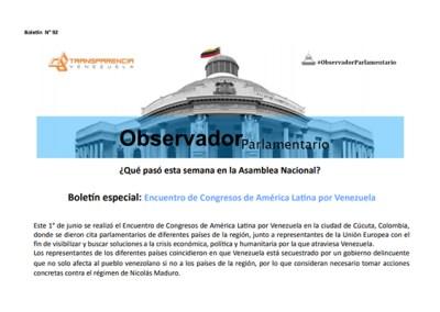 Boletín especial: Encuentro de Congresos de América Latina por Venezuela