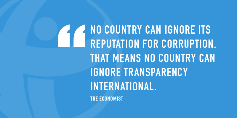 No country can ignore its reputation for corruption. That means no country can ignore Transparency International. - The Economist