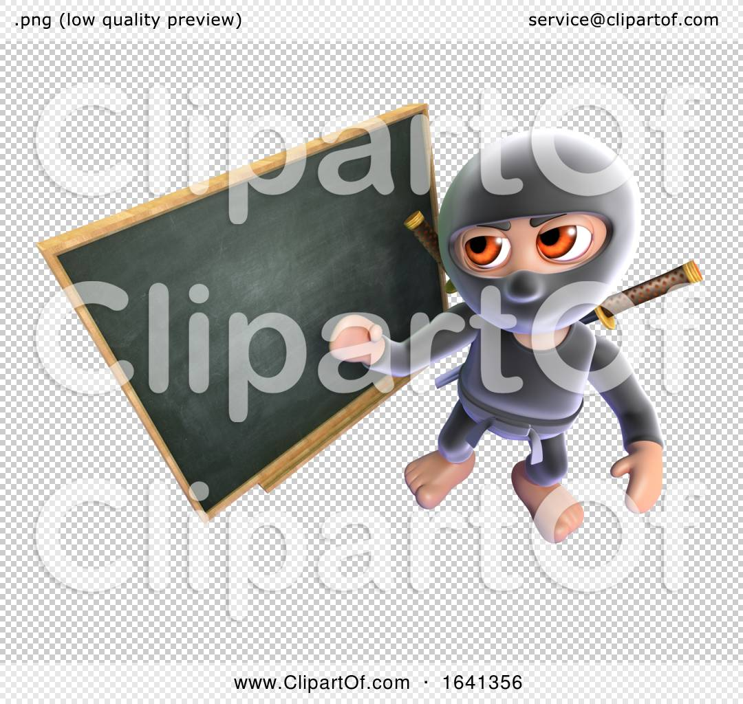 3d Funny Cartoon Ninja Assassin Standing At A Blackboard By Steve Young