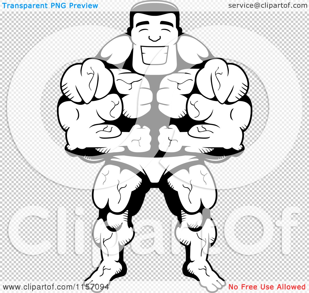 Cartoon Clipart Of A Black And White Body Builder Leaning
