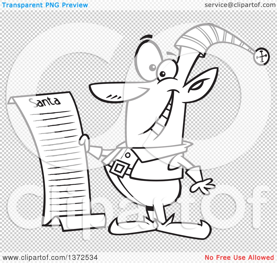 Cartoon Clipart Of A Black And White Christmas Elf Reading